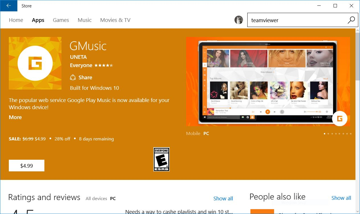 Get this unofficial app to stream youtube music on desktop on.
