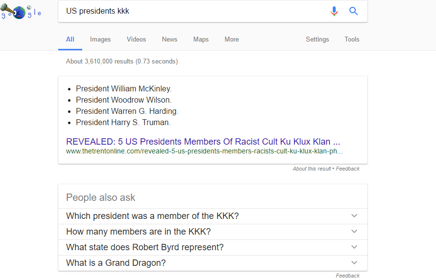 google s featured answers names four us presidents as kkk members