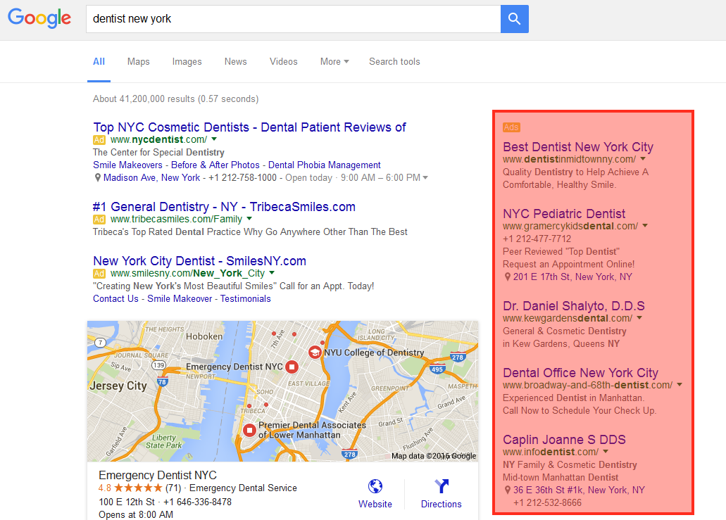 google to remove ads from the right side of the search results page