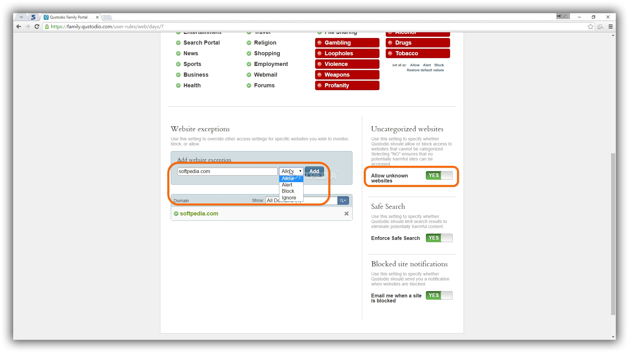 ... you can set Website exceptions to Allow, Alert, Block or Ignore ...