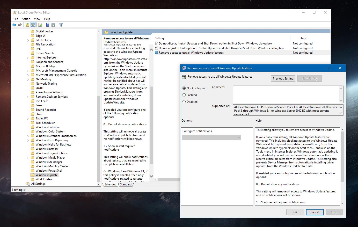 How to Block Access to Windows Update in Windows 10 Version 1809