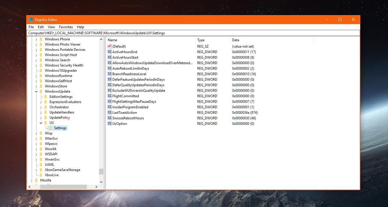 regedit block windows 10 update