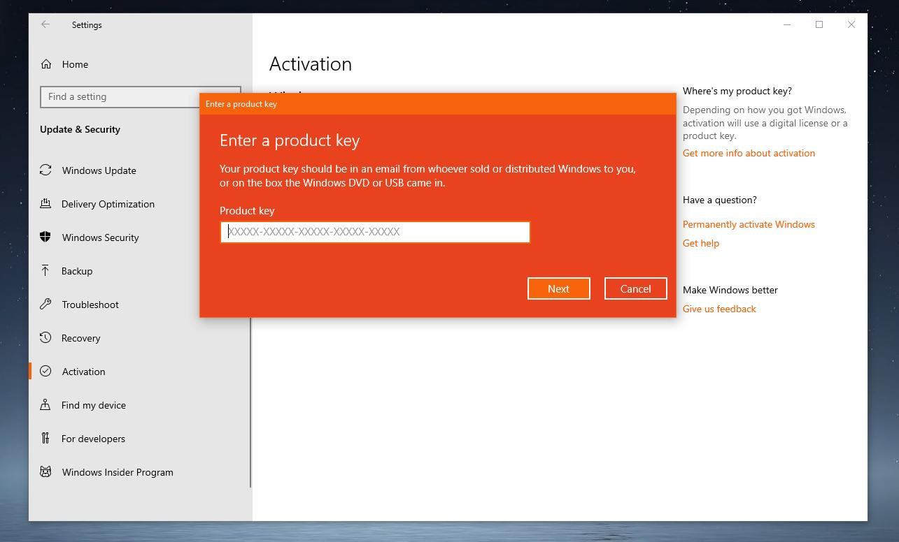 change windows 10 activation key