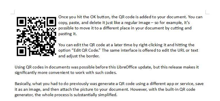 Código QR no LibreOffice 6.4