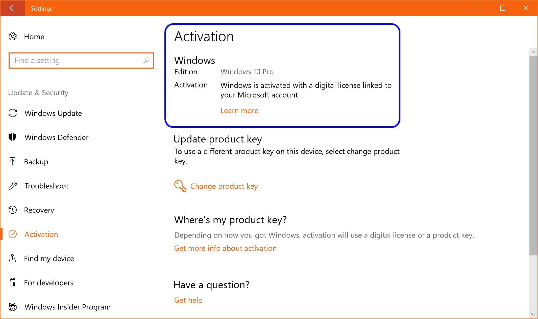 find my product key windows 10