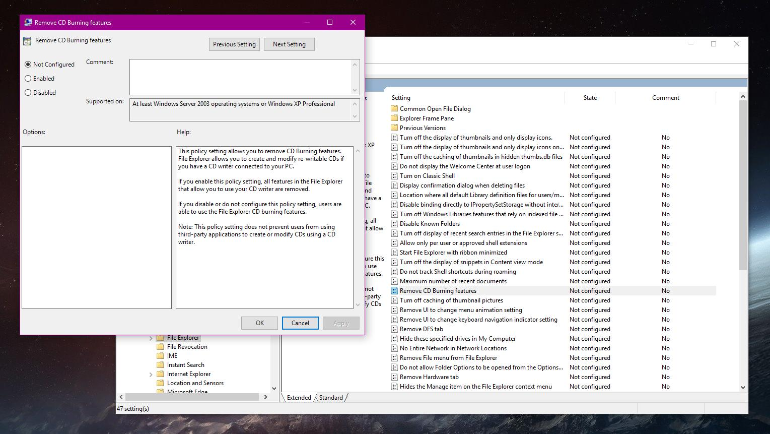 How to Disable CD Burning Features in Windows 10 Version 1803