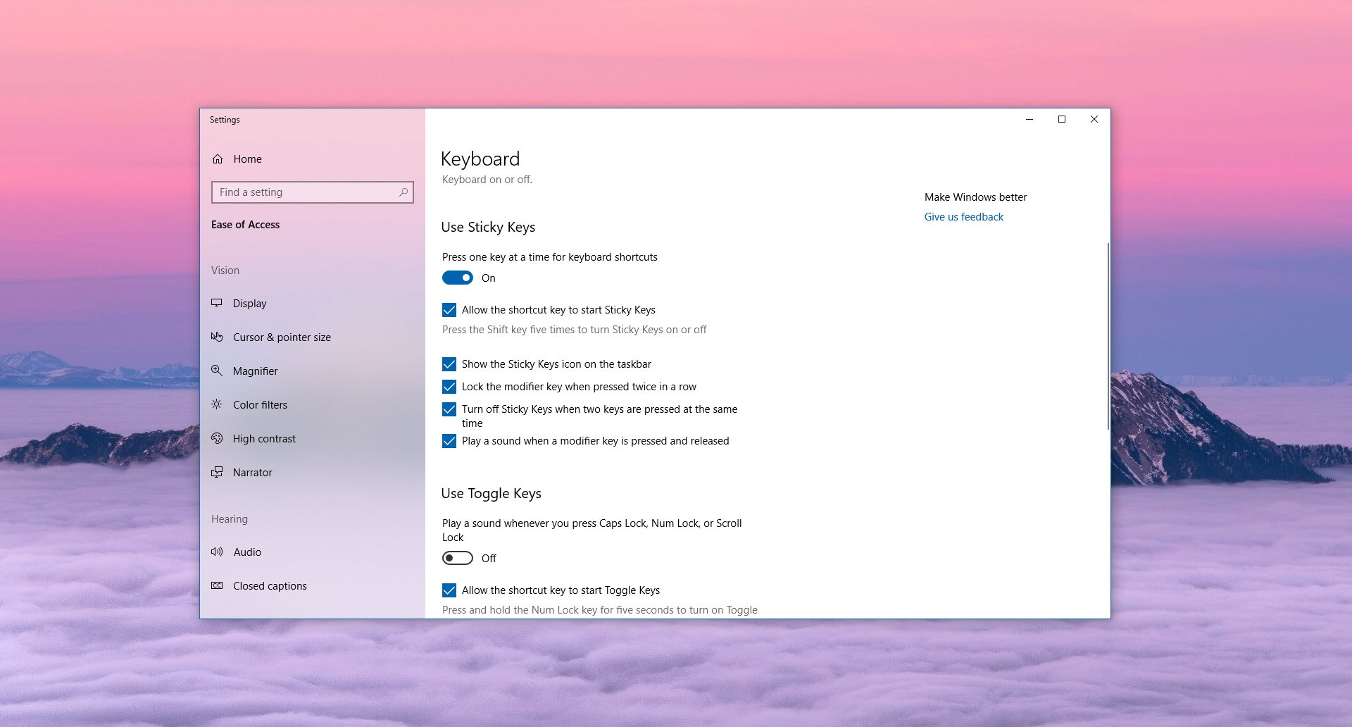 How to Disable Sticky Keys in Windows 10 Version 1809