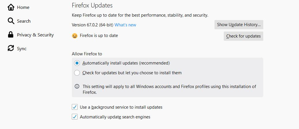 The existing Firefox update options