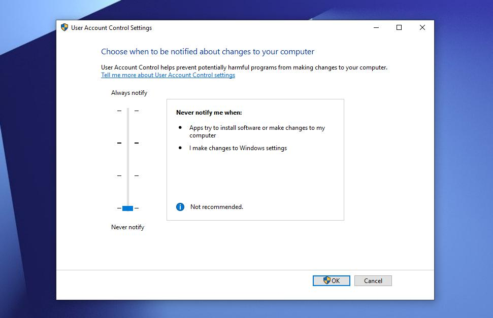 How to Disable User Account Control in Windows 10 Version 1903