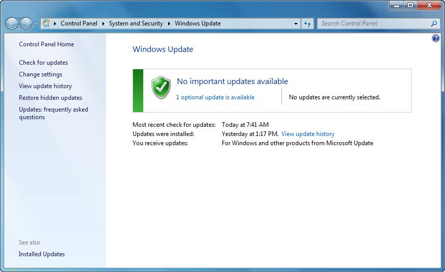 how to enable microsoft update in windows 7