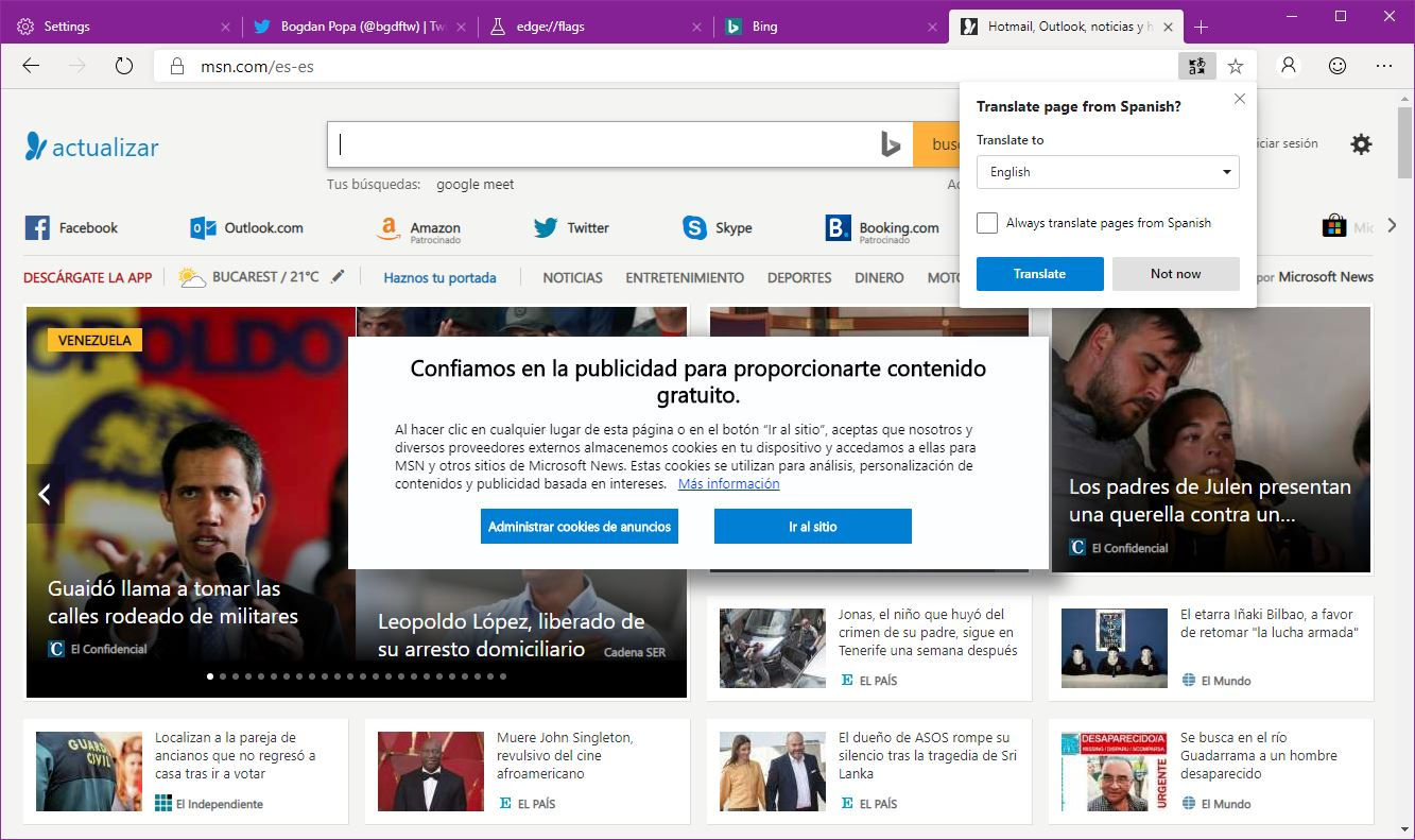 Microsoft Edge browser (Canary build)