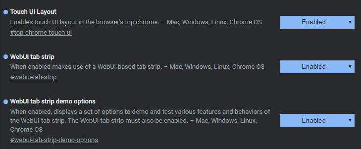 Google Chrome tab strip flags