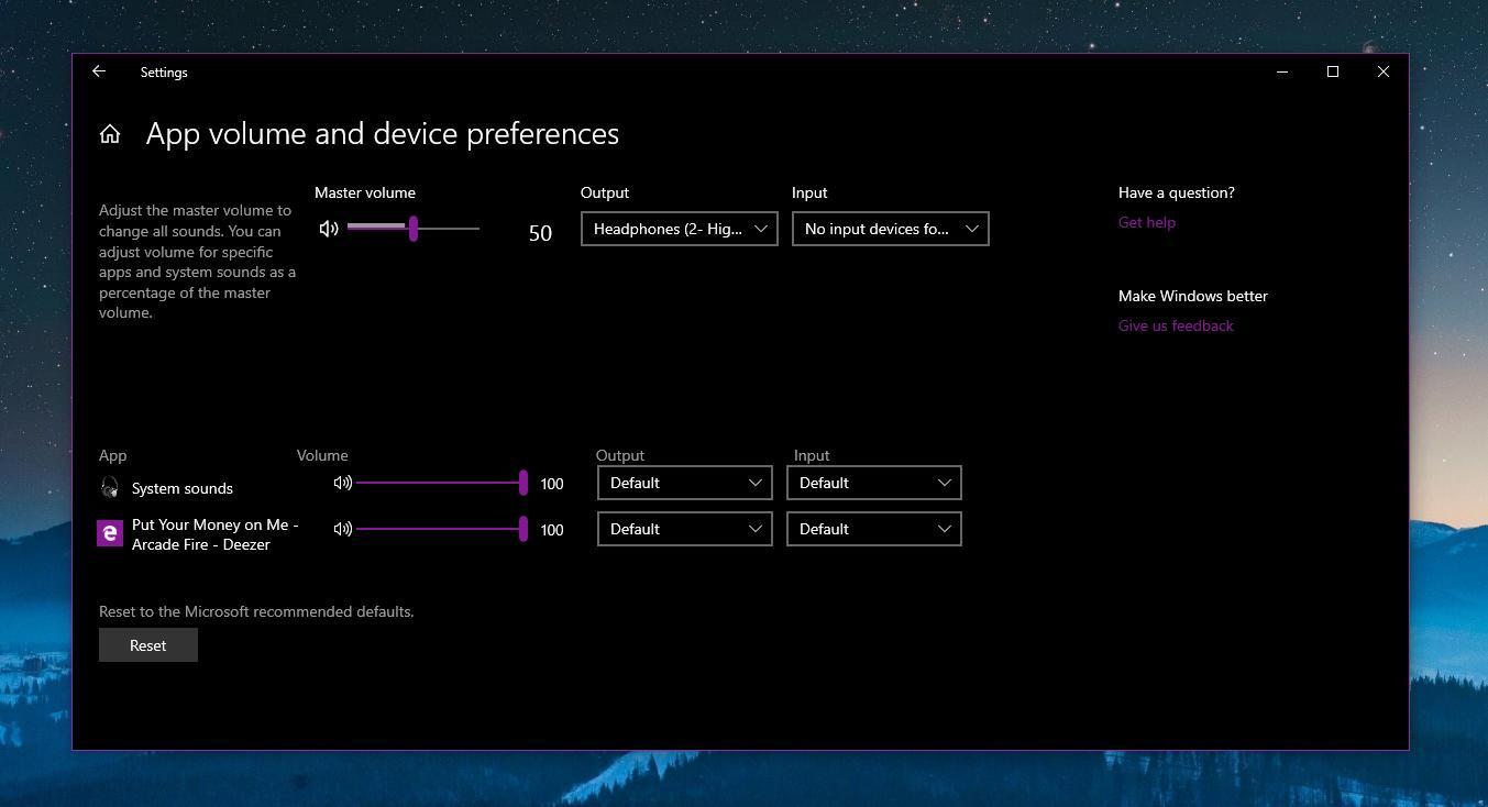 Sound options in Windows 10