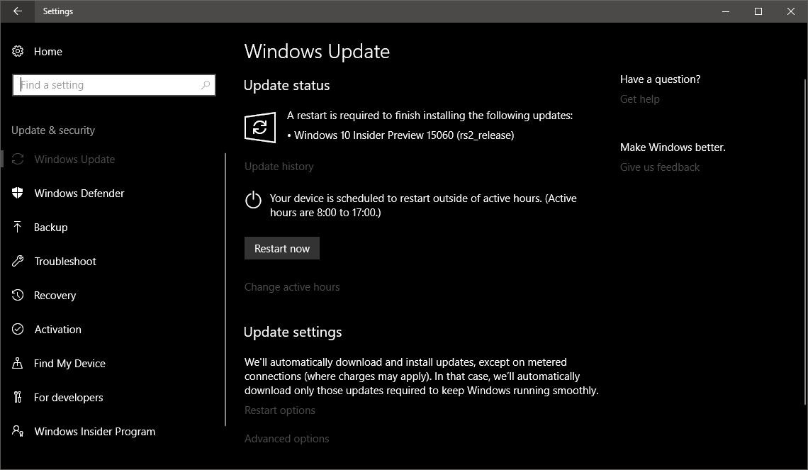 windows 10 active hours registry key