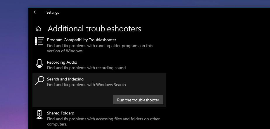 The search troubleshooter in Windows 10