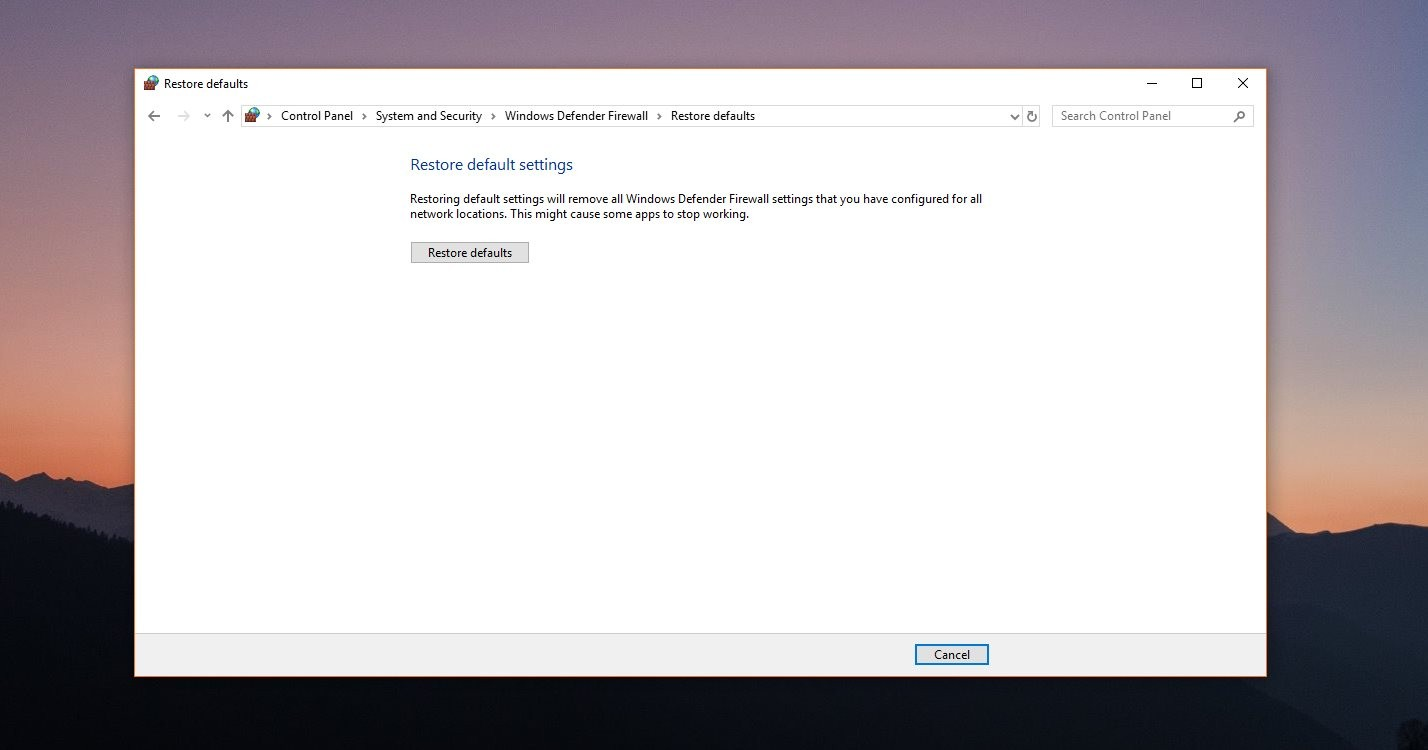 How to Reset the Windows Firewall in Windows 10 Version 1809