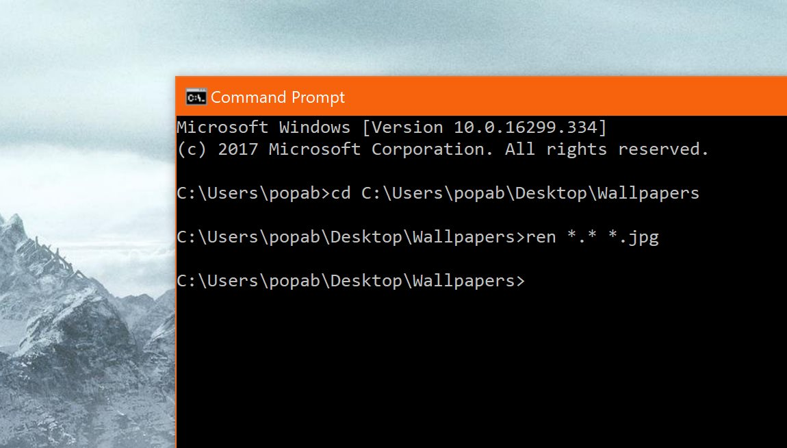 Renaming Files In Command Prompt