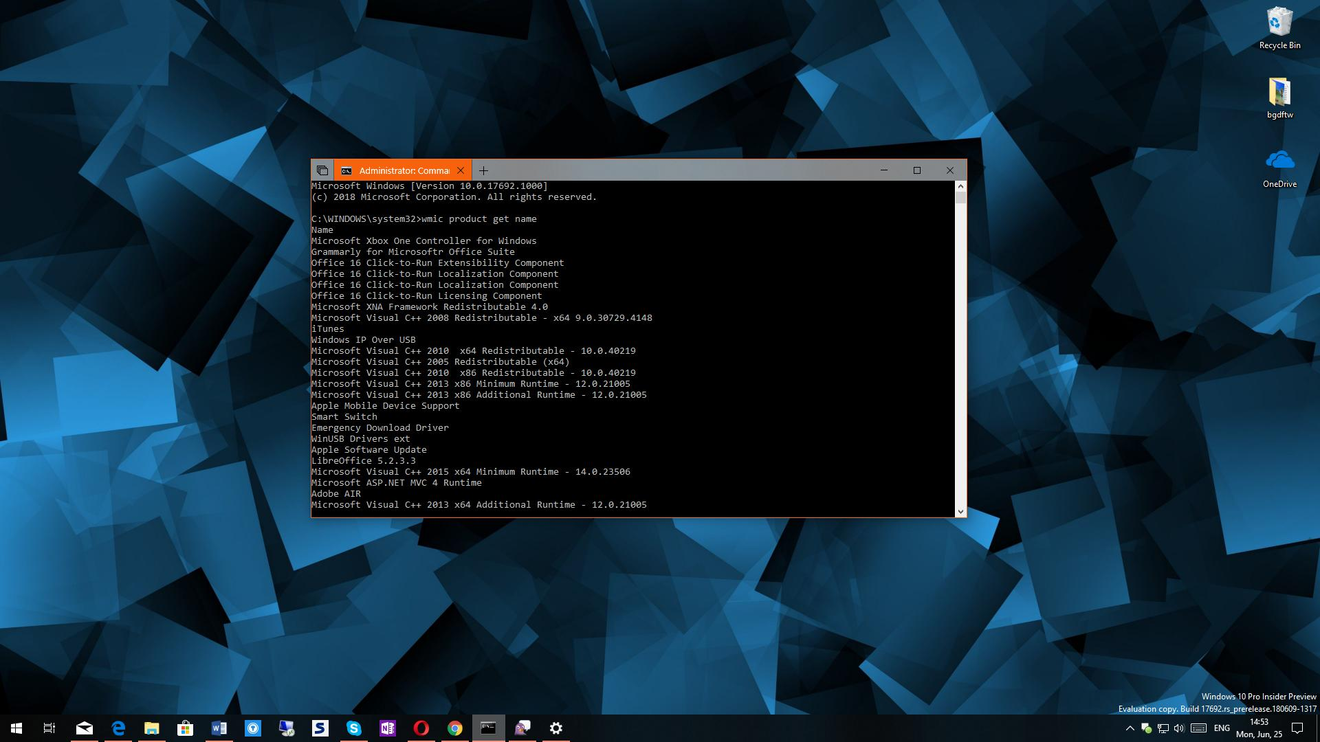 win 10 command prompt list