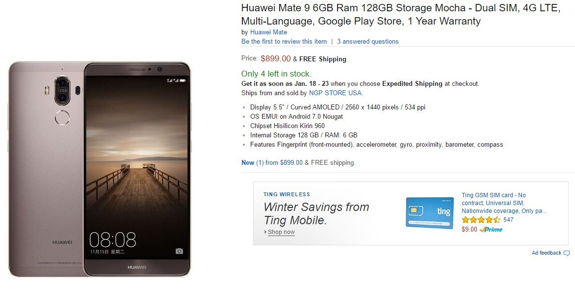 Huawei Mate 9 with 6GB RAM and 128GB Storage Goes on Sale