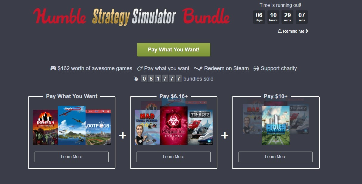 Humble Strategy Simulator Bundle Has Cities Skylines More At Measly Price Automatically redeems humble bundle keys visible in your browser's active tab using the steam client installed on your computer. humble strategy simulator bundle has