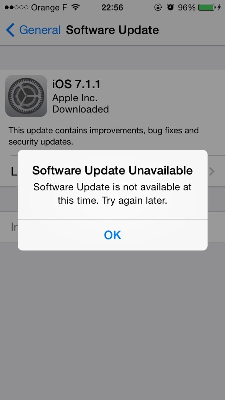 IOS 711 Download Error Software Update Unavailable