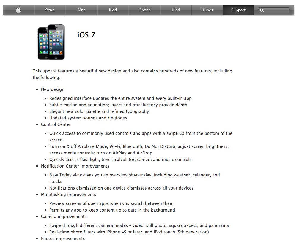 iOS 7: Release Notes