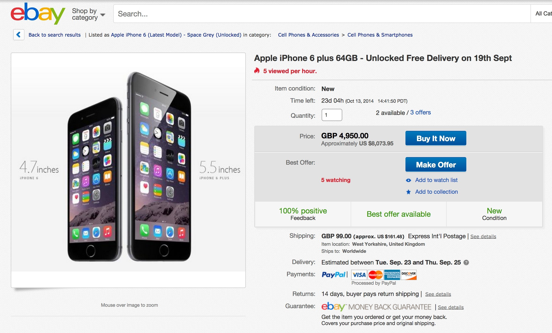 informazioni per 96357 c708c iPhone 6 Plus Is over $8,000 on eBay; iPhone 6, Available ...