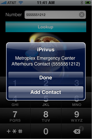 iPrivus user interface - reverse call lookup example