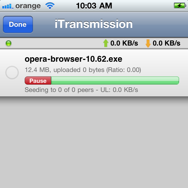 iTransmission Released for iPhone - Downloads Torrents