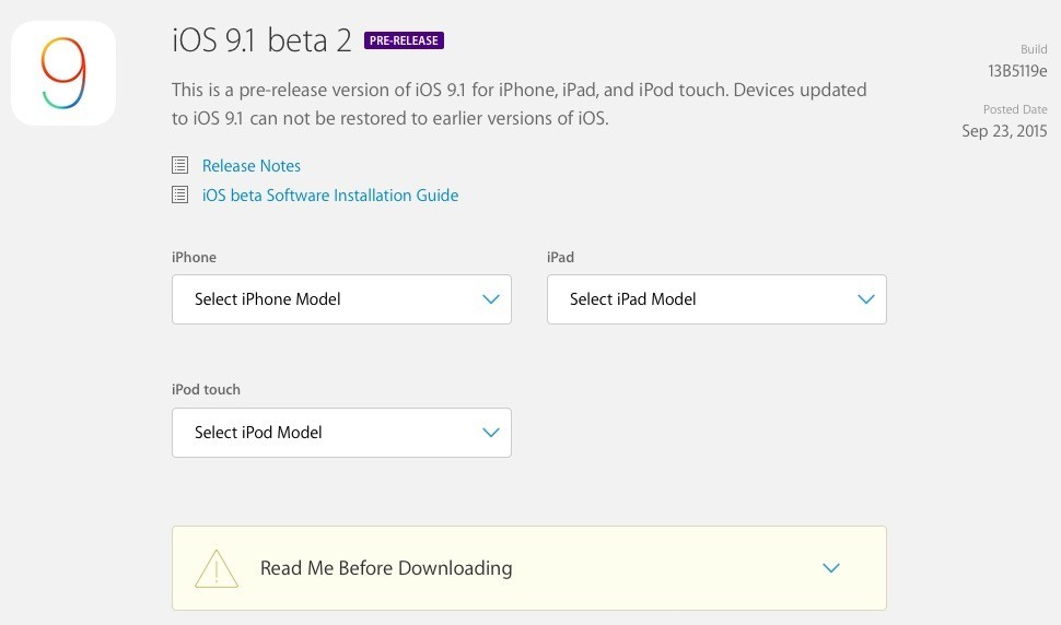 iOS 9.1 Beta 2 Released for Public Testers with AppleID and iCloud ... c8779a779