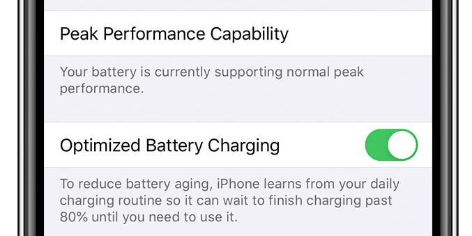 Optimized Battery Charging is enabled by default in iOS 13