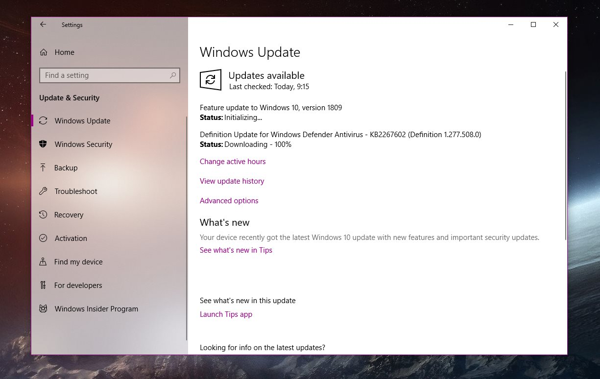 windows 10 1809 new features