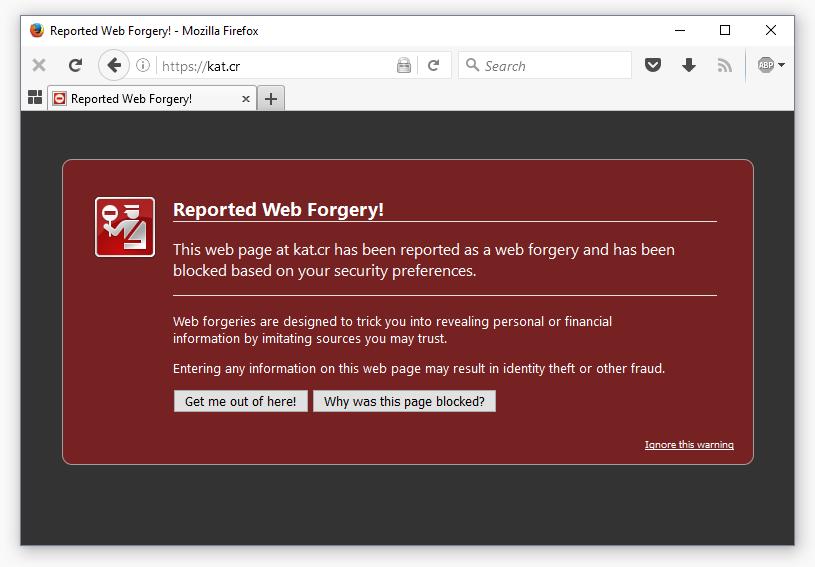 Kickass torrents blocked in chrome firefox safari due to phishing kat error on firefox ccuart Choice Image