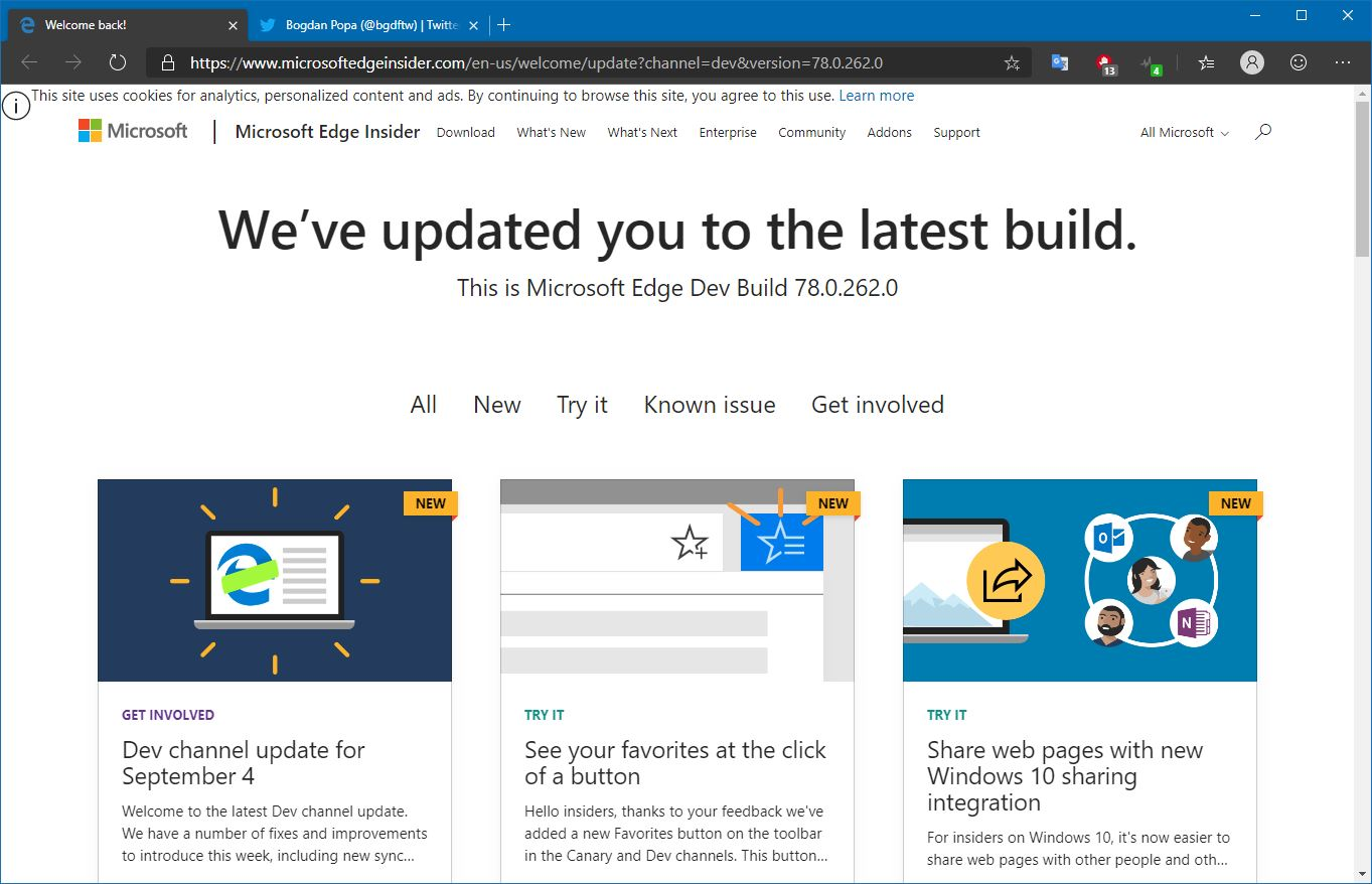 Latest Microsoft Edge Dev Update Brings Lots of New Features