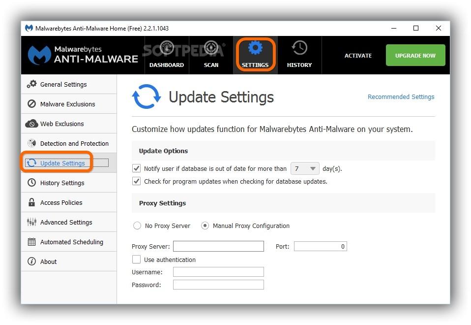 malwarebytes proxy settings