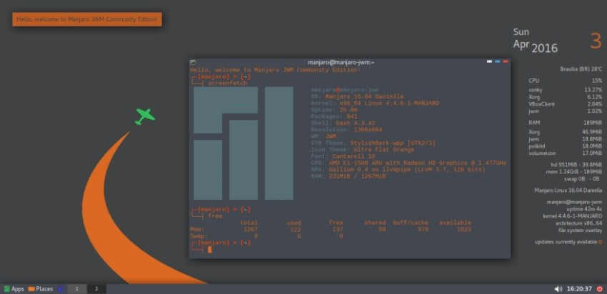 Manjaro Linux JWM 16 04 Community Edition Boots with Less than 120MB