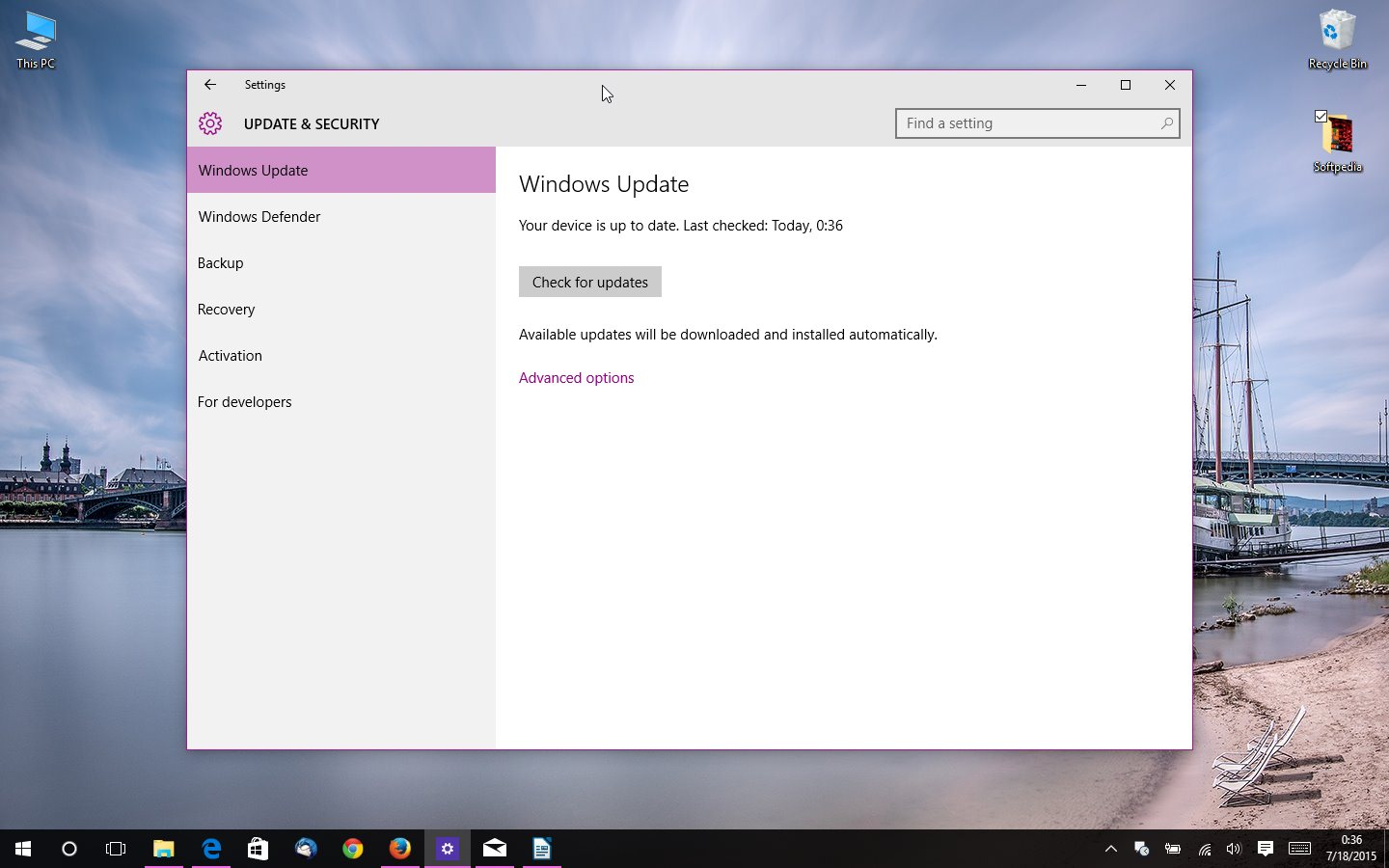 Microsoft announces first windows 10 rtm build 10240 update the new patch will ship via windows update ccuart Choice Image