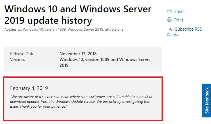 Microsoft explains why Windows Update did not work on January 29, 2019
