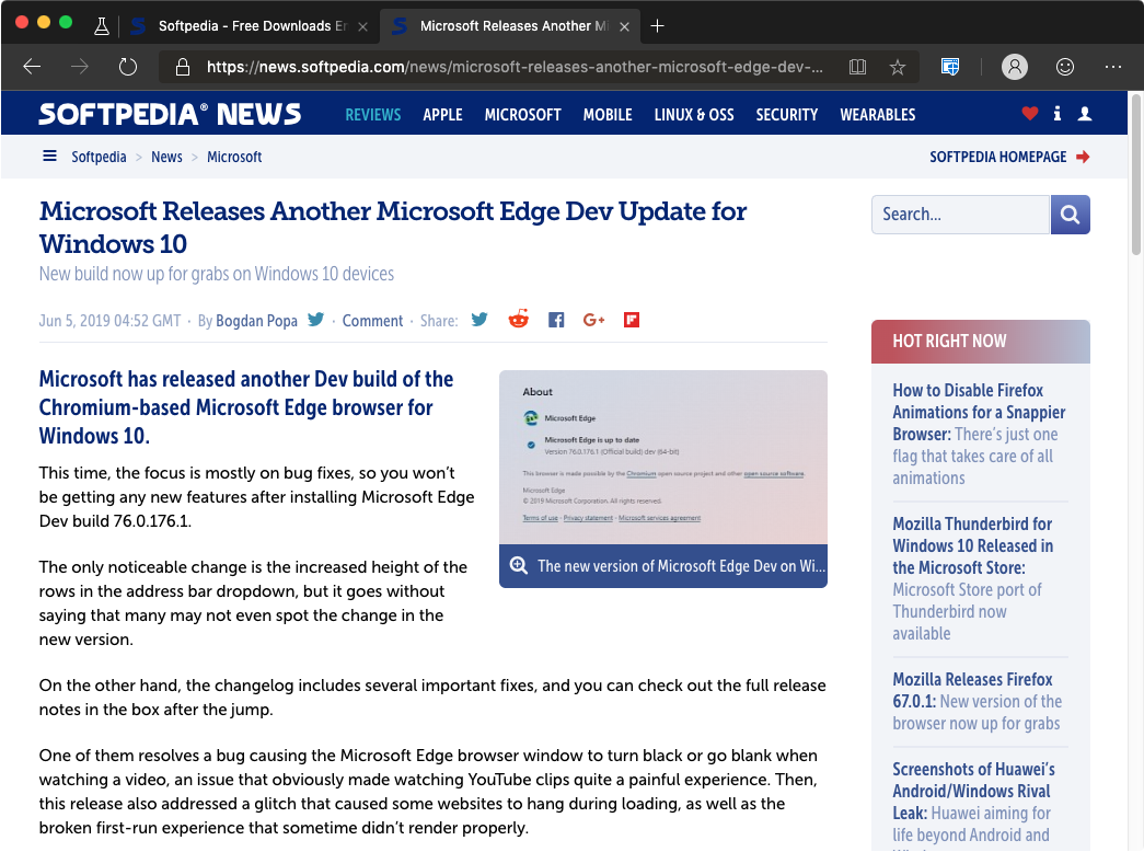 Microsoft Edge Browser for Mac Gets a Dark Theme