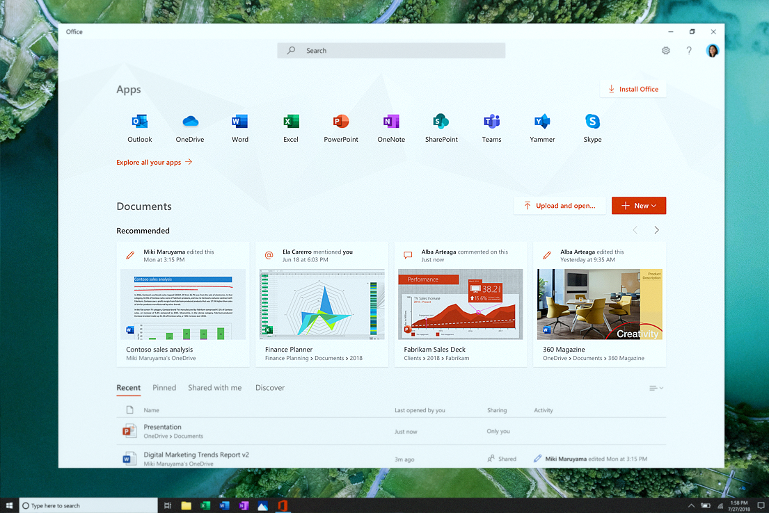 Microsoft Launches New Office App for Windows 10 19H1