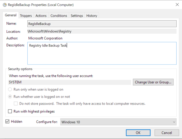 Windows 10 is not creating registry backups -- and is lying about it