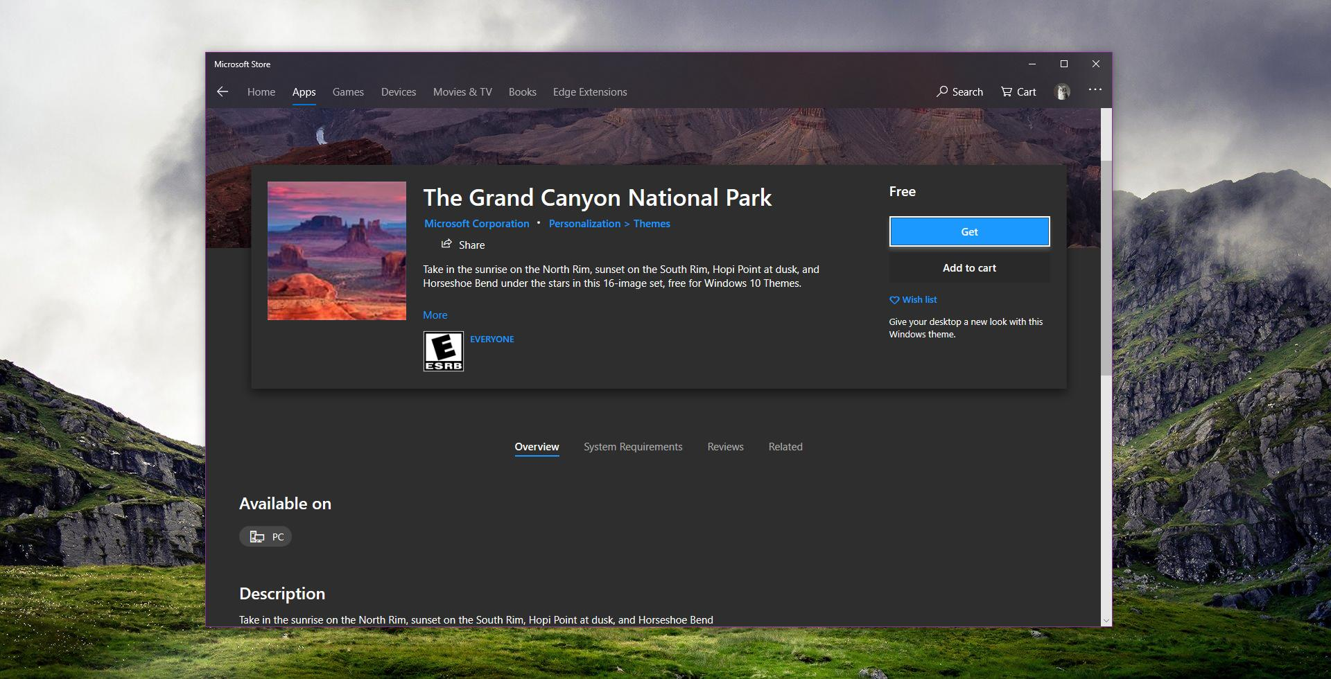 Microsoft Releases New Windows 10 Theme with HD Grand Canyon Wallpapers