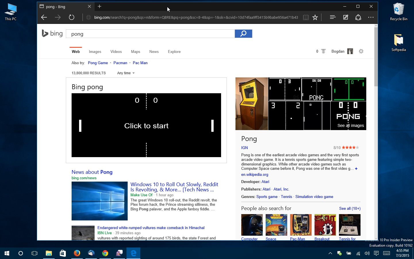 microsoft releases pong game on bing play it in your browser