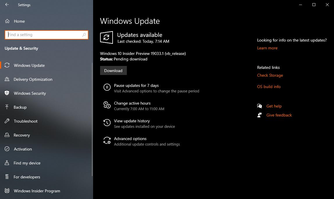 Windows 10 20H1 build 19033 arrives for Fast and Slow ring Insiders