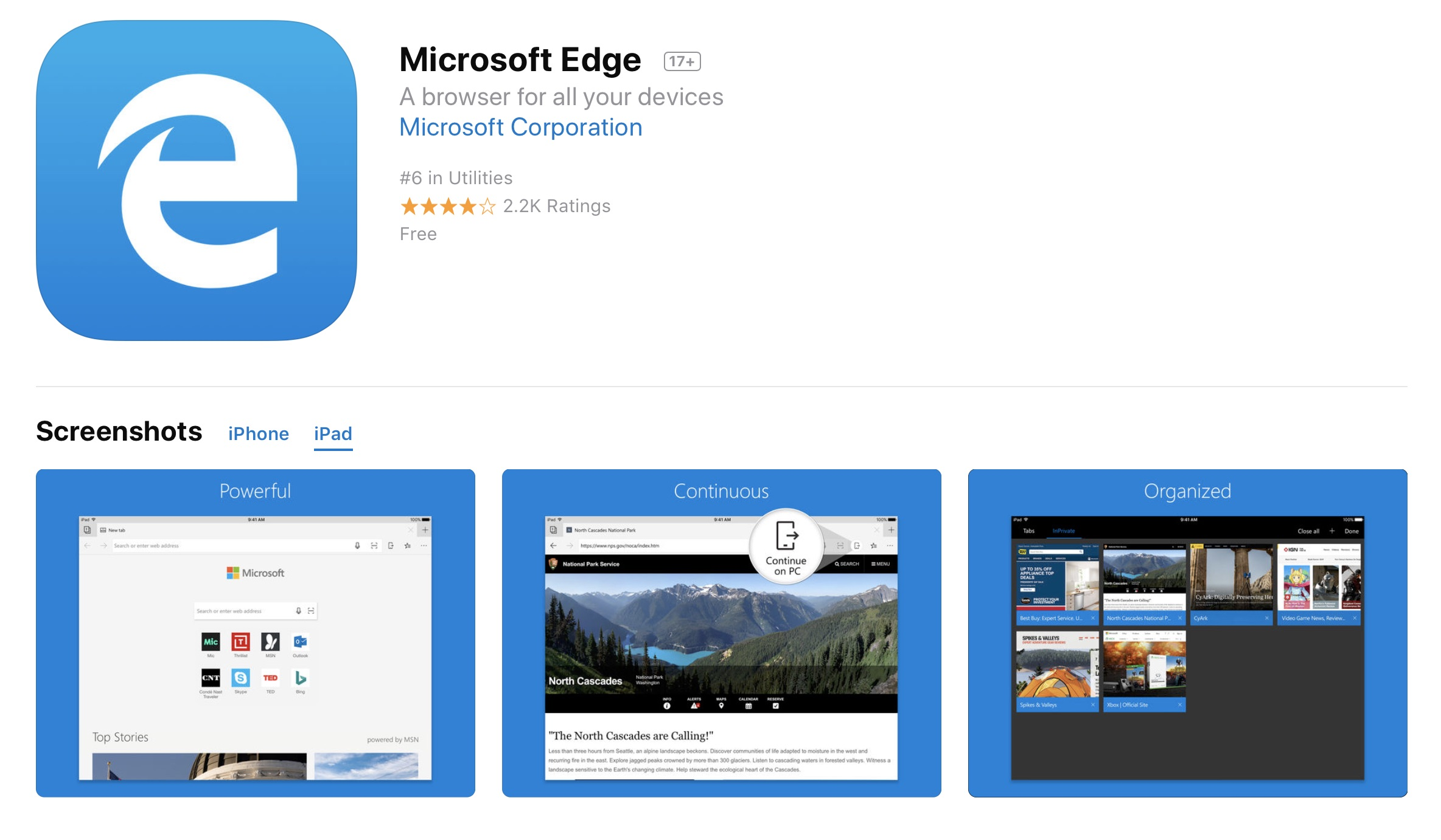Microsoft's Edge Web Browser Now Supports Apple's iPad