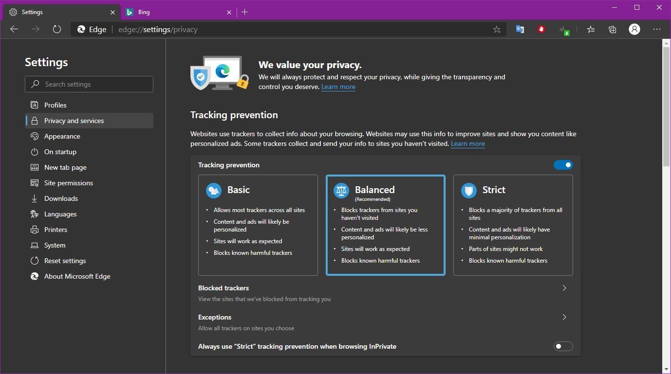 Microsoft Edge browser on Windows 10