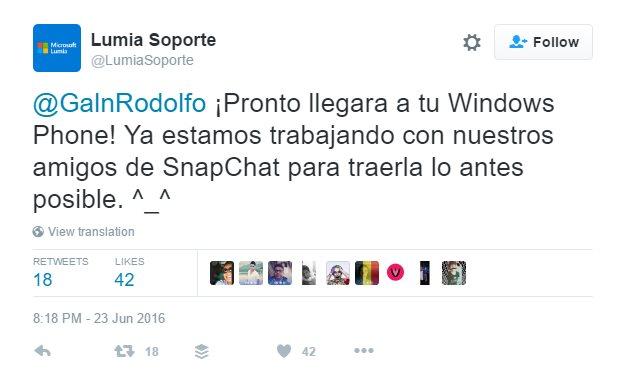 Microsoft Says Snapchat Is Working on Windows Phone App