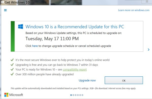 microsoft schedules upgrade to windows 10 without users consent
