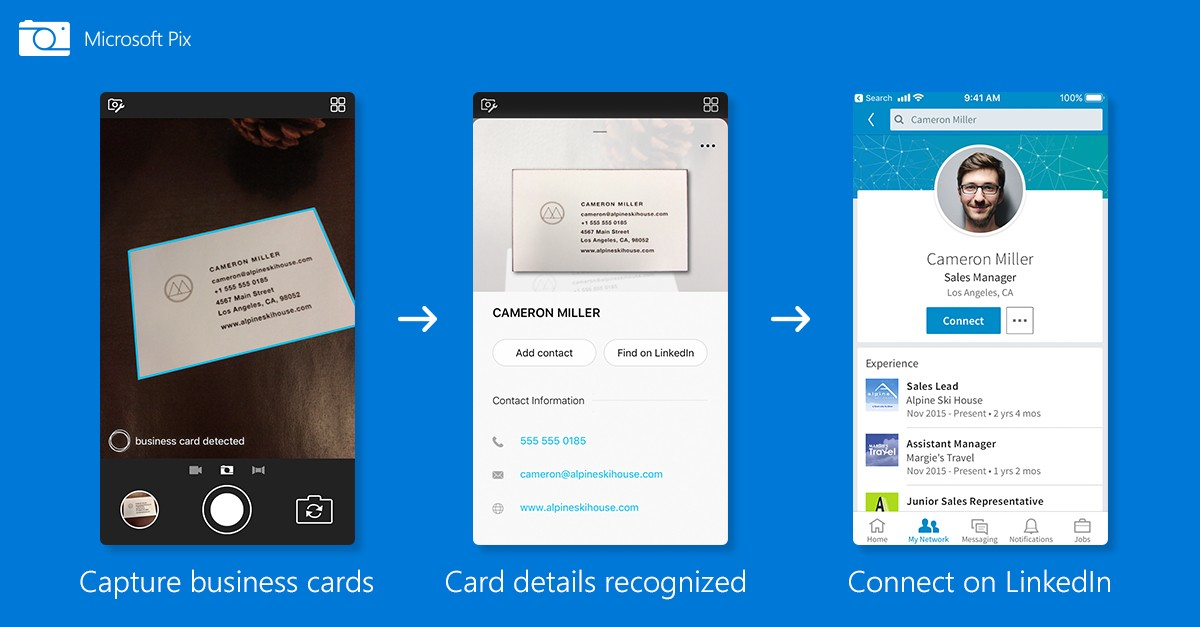 Microsoft updates its iphone camera app to scan business cards new business card scanning feature in microsoft pix colourmoves