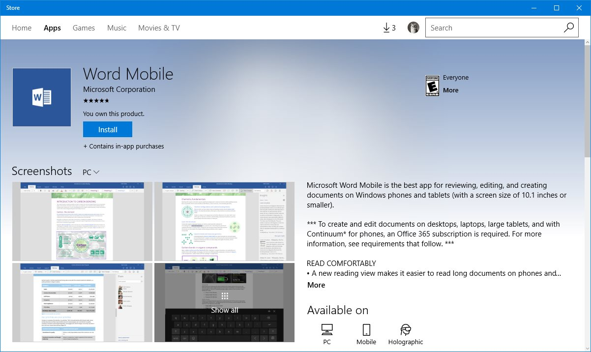 Microsoft Updates Office Mobile Preview Apps for Windows 10 PCs and